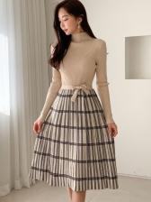 Mock Neck Plaid Long Sleeve Sweater Dress