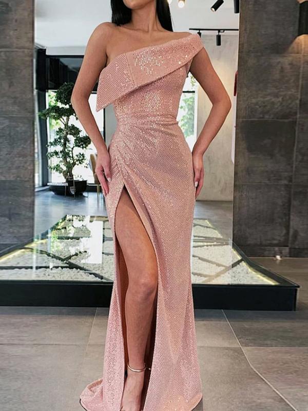 One Shoulder High Split Hem Blush Long Formal Dresses