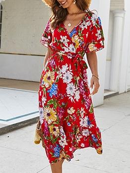 Bohemian V Neck Tie-Wrap Short Sleeve Floral Dress
