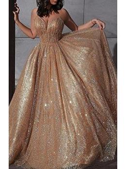 Glitter Large Hem Sleeveless Evening Dress