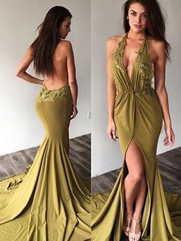 Embroidery V Neck Backless Halter Long Evening Dress