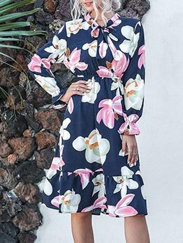 Autumn Tie Neck Knee Length Long Sleeve Floral Dress
