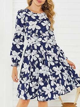 Crew Neck Flower Pattern Dresses For Women