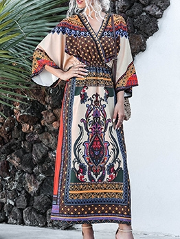 Bohemian Style Printed Loose Vacation Maxi Dresses