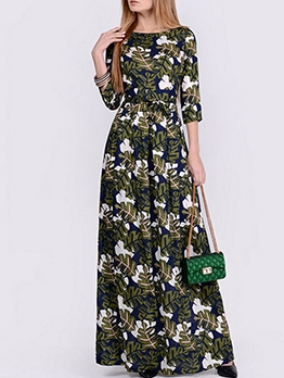 Euro Vintage Print Party Casual Maxi Dresses