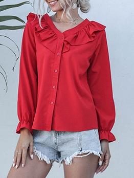 Ruffles Detail Single Breasted Long Sleeve Shirts