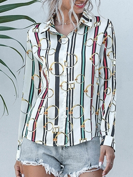 Casual Turndown Neck Printing Stripes Shirts