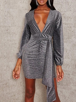 Sexy Deep V Neck Tie-Wrap Long Sleeve Short Dress