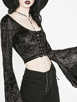 Front Tie Cropped Flare Sleeve Black Blouse