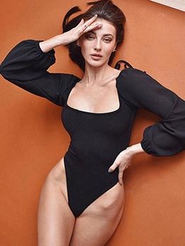 U Neck Back Lace-Up Puff Sleeve Ladies Bodysuits