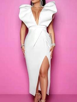 Deep v Ruffled Split White Maxi Dress