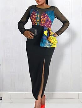 Sexy Lace Patchwork Split Print Black Maxi Dress