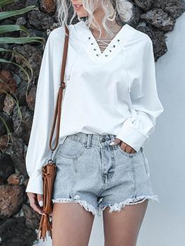 Front Tie Lantern Sleeve White Blouse