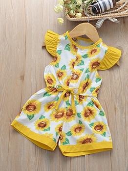 Sunflower Print Smart Waist Sleeveless Girls Romper