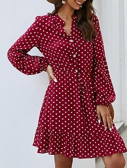 Single-Breasted Polka Dots Long Sleeve Dress