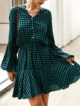 Hot Sale Button Down Plaid Ladies Dress