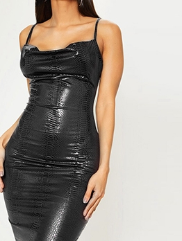 Night Club Alligator Print Pu Slip Black Dress