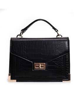 Alligator Print Solid Square Ladies Shoulder Bags