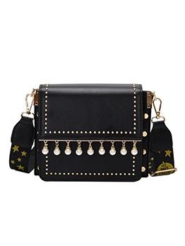 Pearls Pendant Wide Printed Belt Shoulder Bags