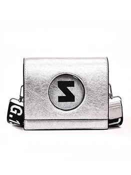 Letter Printed Belt Square Over The Shoulder Bags
