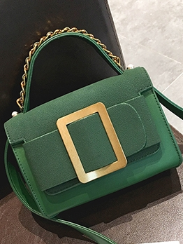 Square Buckle Chain Handle Shoulder Bags For Women