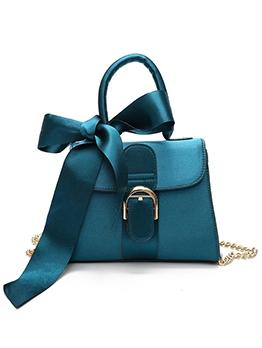 Bowknot Ribbon Handle Suede Chain Shoulder Bags