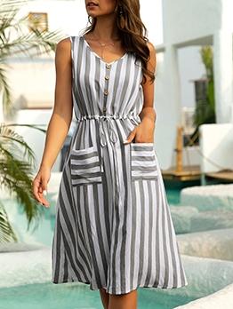 V Neck Striped Dual Pockets Casual Dresses