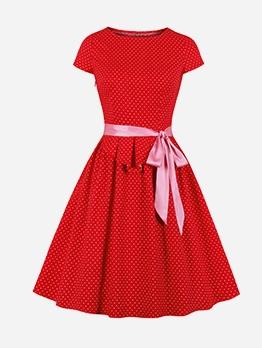 Euro Dots Print Short Sleeve Large Hem Dress