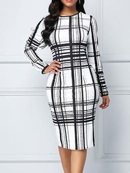 Black And White Plaid Long Sleeve Ladies Dress