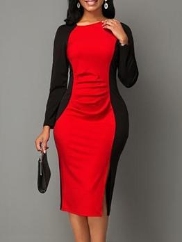 Ol Style Contrast Color Long Sleeve Bodycon Dress