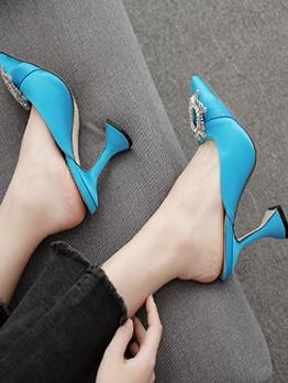 Cone Heel Rhinestones Slip On Heels For Women