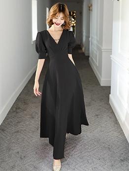 Elegant V Neck Puff Sleeve Large Hem Evening Dress