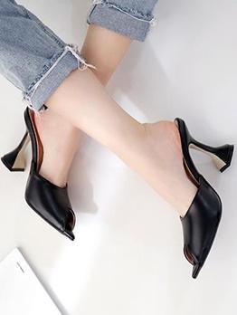 Versatile Peep Toe Slip On Black High Heels