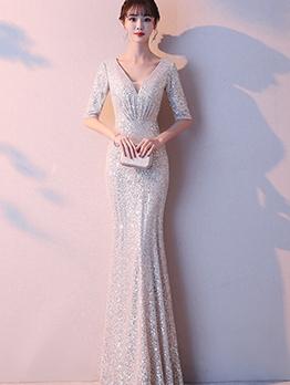 Deep V Neck Glitter Short Sleeve Bodycon Formal Dress