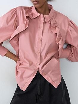 Ruffles Edge Button Up Pink Long Sleeve Shirts