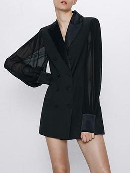 All Black Tulle Lantern Sleeve Ladies Blazer