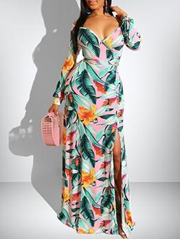 Low-Cut Split Hem Print Wrap Maxi Dress