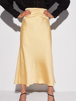 Pure Color High Waist Pleated Midi Skirt