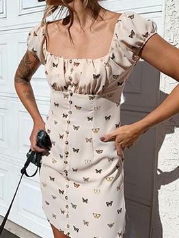 Butterflies Print Square Neck Short Dress For Summer