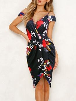 Cold Shoulder V Neck Fitted Floral Ladies Dress