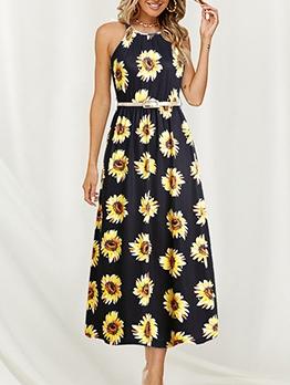 Euro Smart Waist Floral Sleeveless Maxi Dress