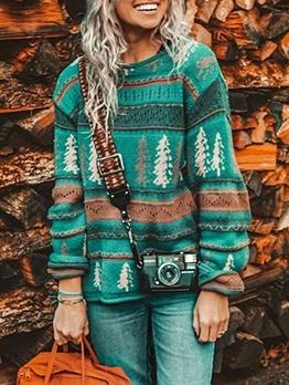 Casual Christmas Tree Print Crew Neck Sweater