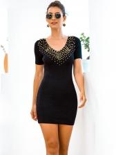 Studded V Neck Knitted Black Short Sleeve Dress