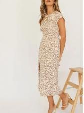 Stylish Slit Print Short Sleeve Midi Dress