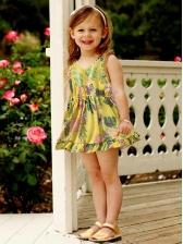 V Neck Leaves Print Sleeveless Little Girls Dresses