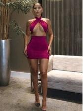 Cross Neck Sexy Crop Top And Skirt Set