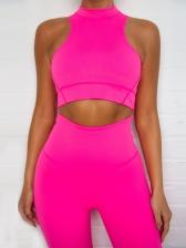 O Neck Pure Color Yoga Two Piece Pants Set