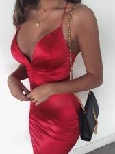 Deep v Slip Pure Color Sexy Dress