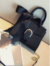 Bowknot Ribbon Handle Suede Chain Shoulder Bags