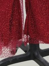 Glitter Tassel Decor Long Sleeve Jumpsuit